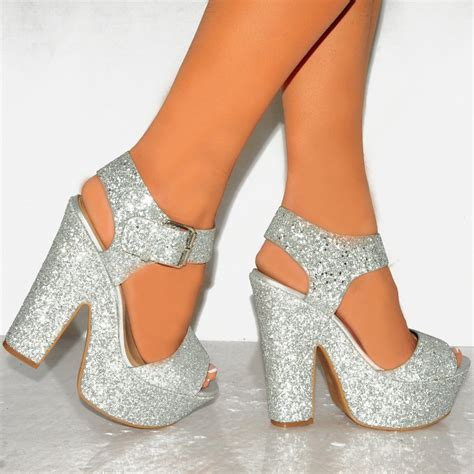 High Heels Gliter Silver womens silver glitter wedged platforms ankle block heels