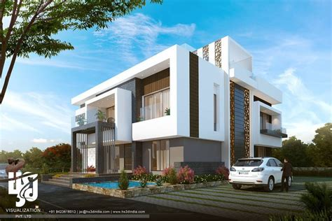 modern villas modern villa 3dvisualization hs3dindia archdaily