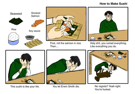 sushi meme with levi ackerman how to make sushi your meme