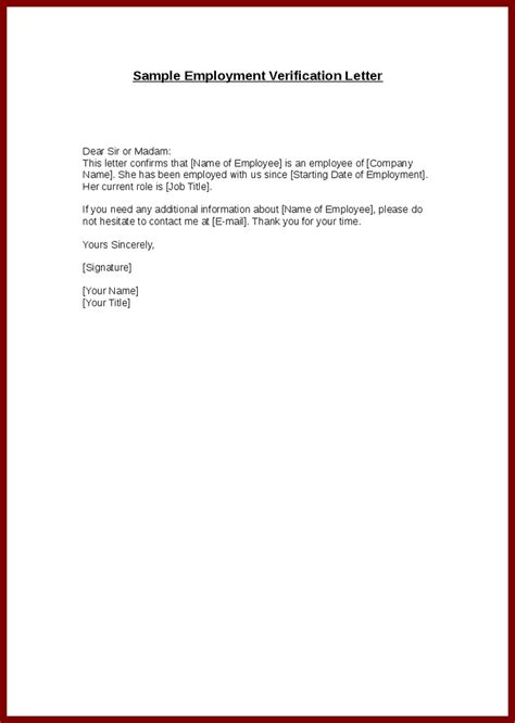 Employment Letter Word Template employment verification letter template word the letter