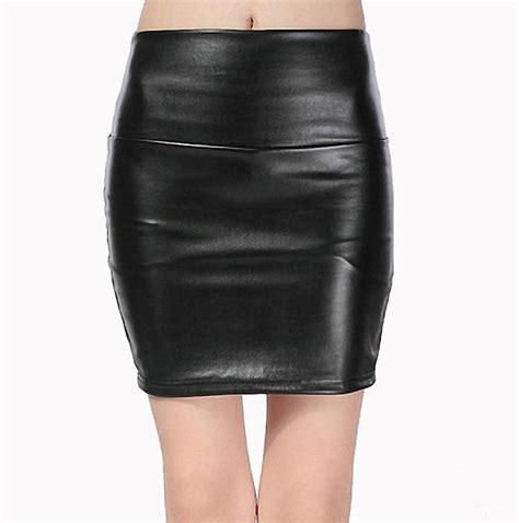 2016 new fashion faux pu leather skirt high waist