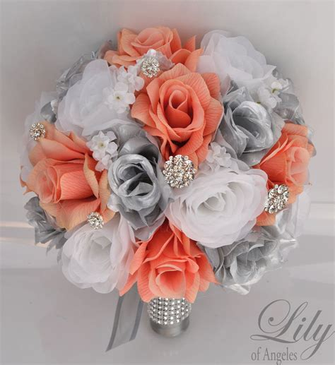 Wedding Bouquet Decorations by 17piece Package Silk Flower Wedding Bridal Bouquet