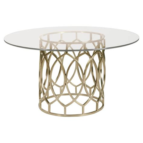 gold metal dining table oriana modern classic gold pedestal glass dining table