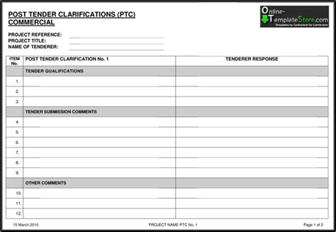 tender document template for construction free templates construction template store