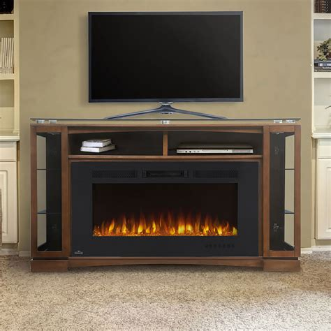 shelton electric fireplace media console in burnished