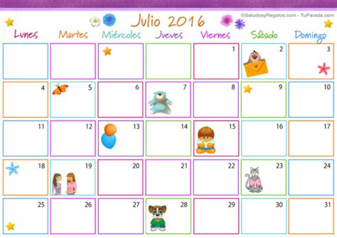 Calendario X Mes 2016 Calendario Julio 2016 Im 225 Genes Para Descargar E Imprimir