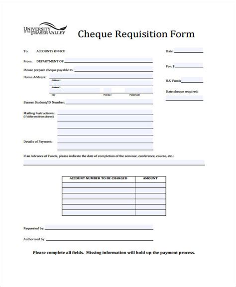 cheque request form template sle requisition forms