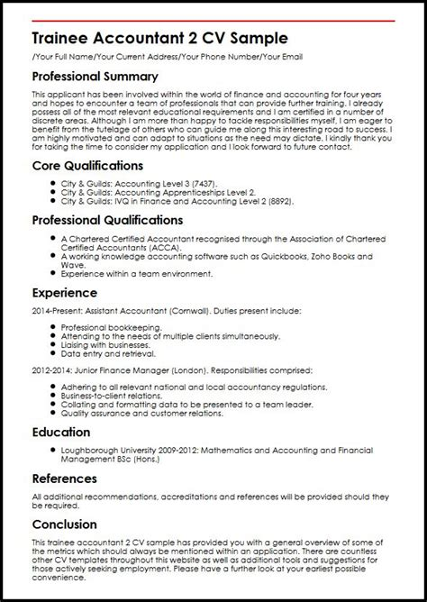 cv template junior accountant accountant resume exles accounting resumes exles