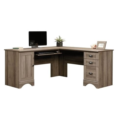 harbor view salt oak desk l shaped computer desk in salt oak 417586