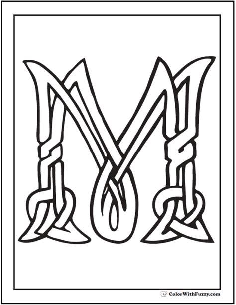 celtic letter coloring page letter m celtic coloring page
