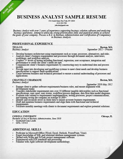 Resume Exles Analyst Position Business Analyst Resume Sle Writing Guide Rg