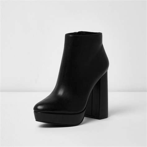 D Island Shoes Boots Black river island black leather platform heel boots in black lyst