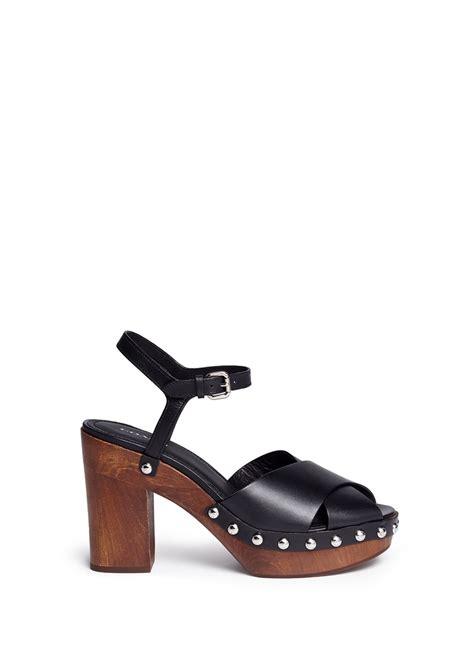 coach platform sandals coach viola leather wood platform sandals