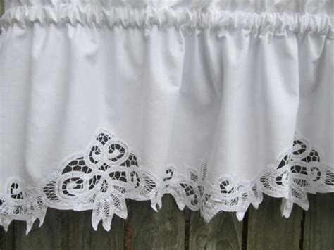 Cotton Valance Country Battenburg Lace Curtain Valance In White Cotton