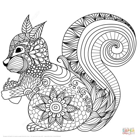 nature mandalas coloring book design originals lovely squirrel zentangle coloring page free printable
