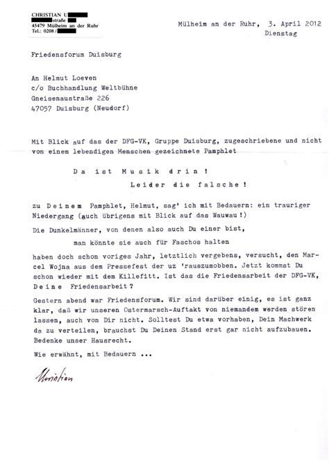 Offizieller Brief Auf Ostermarsch Auf Abwegen E Rabbia
