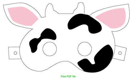 printable mask cow printable cow face mask pictures to pin on pinterest