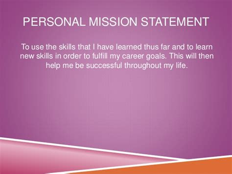 sle career personal mission statement exles features of study courses