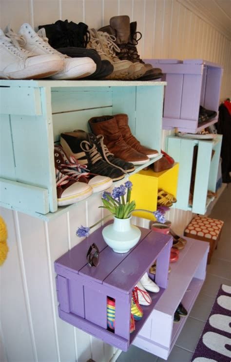 33 shoe storage ideas diy wooden crate shoe rack diy storage solutions for your everyday clutter