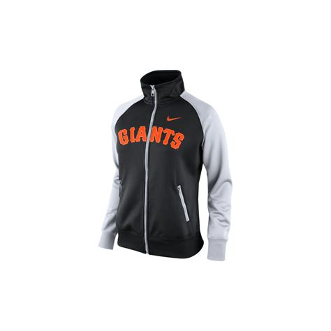 Sweater White Sf T1310 nike womens san francisco giants track jacket in black black white lyst