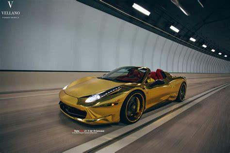 golden ferrari golden ferrari 458 spider on vellano wheels autofluence
