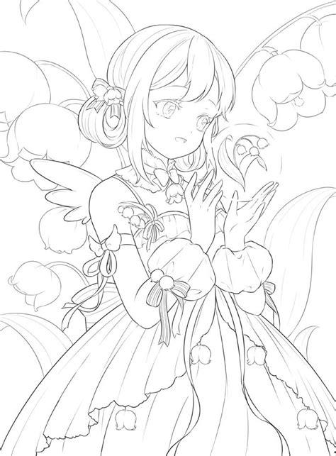 Livro Para Colorir De Flores & Sweetgirls Kawaii Anime