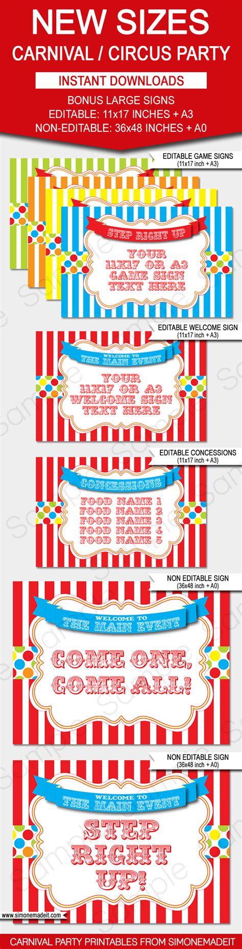 carnival themed names carnival signs circus signs birthday party decorations