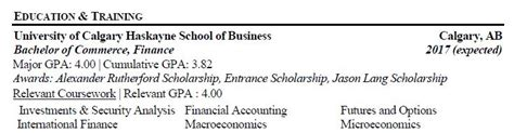 examples of education on resume