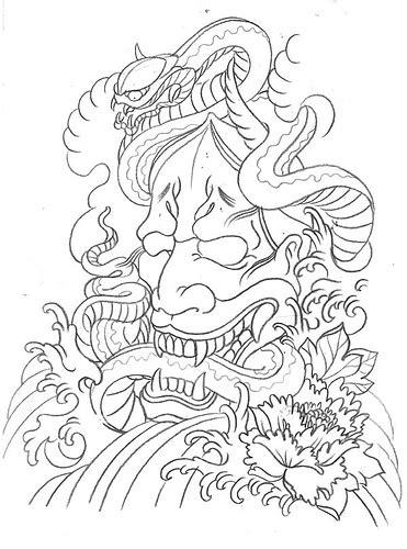 hannya mask tattoo outline 13 hannya tattoo designs