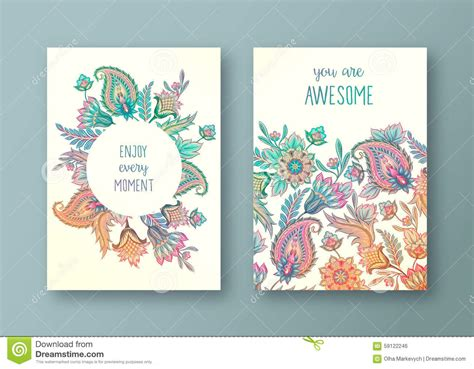how to set up a greeting card template set of floral cards stock vector image 59122246
