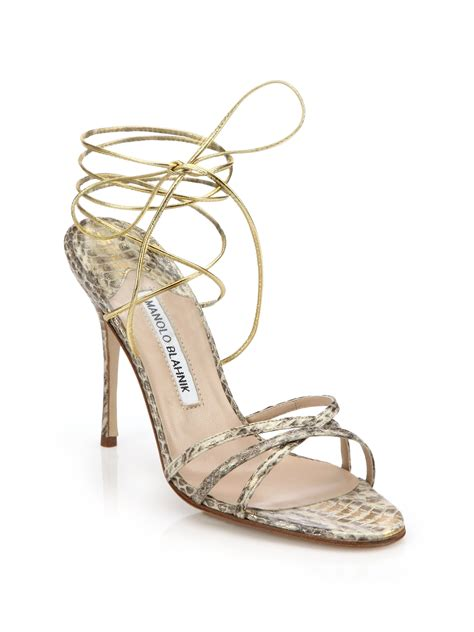 manolo blahnik sandals lyst manolo blahnik leva snakeskin sandals in