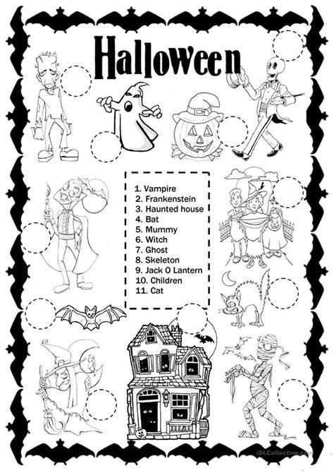 esl printable worksheets halloween number names worksheets 187 halloween reading activity