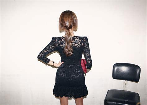 Dress Dress Korea Brukat Dress Brukat Hitam Black 2 dress brukat warna hitam modis model terbaru jual murah import kerja