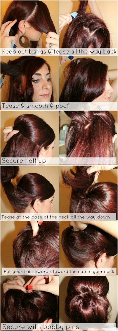 half up bun hairstyles tutorial hair tutorial low chignon with poof