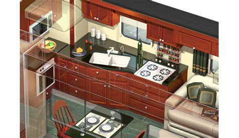 Interior Kitchen Images 3d rv motorhome cutaway kitchen 169 acme 3d com
