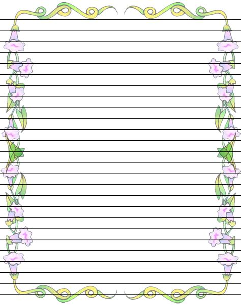 printable writing paper with lines and border free printable flower borders clipart best