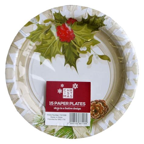 buy small christmas paper plates  pack holly design   cherry lane