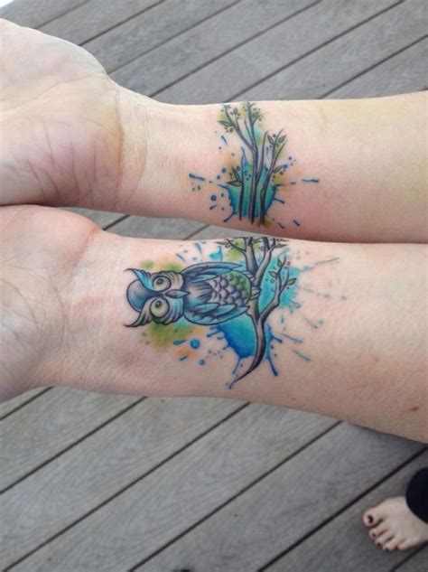 watercolor tattoos on wrist new ink watercolor owl wrist lucky soul