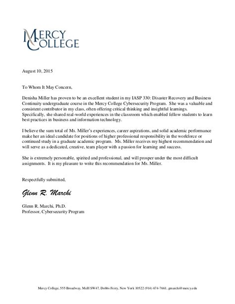 Mercy College Acceptance Letter Letter Of Recommendation From Gmarchi To Denishamiller Iasp330 Dr Bc