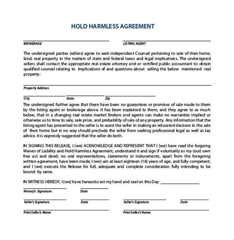hold harmless agreement 30 sle hold harmless agreement templates to