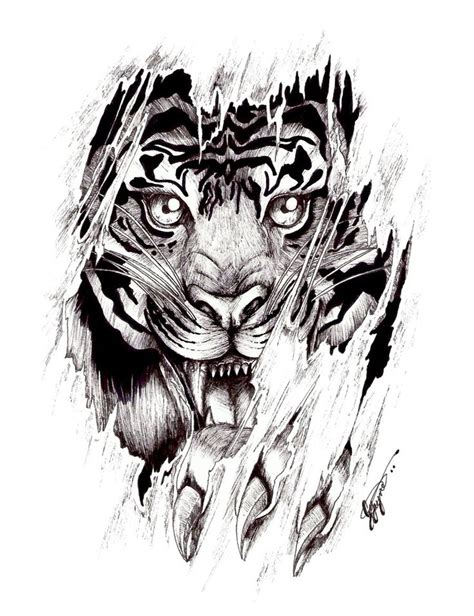 face design tattoos ripped skin angry tiger design by shellvia
