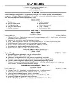 general manager resume example management sample resumes