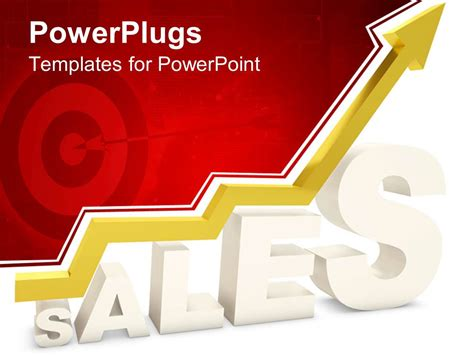 powerpoint template 3d white sales word with yellow arrow