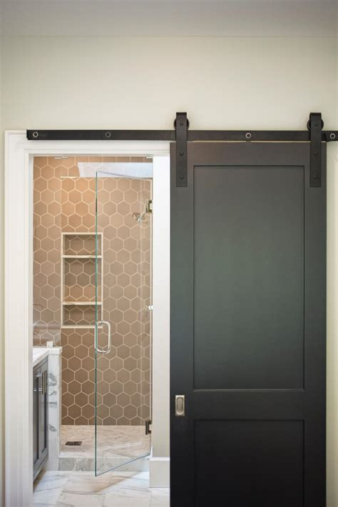 sliding doors bathroom small home with big style fresh face hgtv and swinging