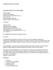 Sle Cover Letter sle cover letter academic advisor 28 images career