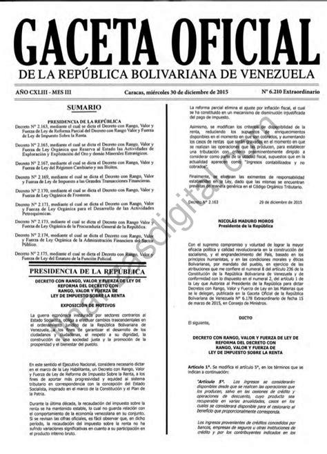 gaceta oficial de reforma el islr 2016 g o ley islr 2015