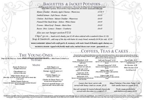 The Cottage Menu A La Carte Baguettes Jacket Potatoes Children S