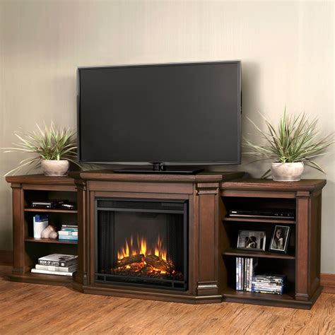 real valmont tv stand with electric fireplace