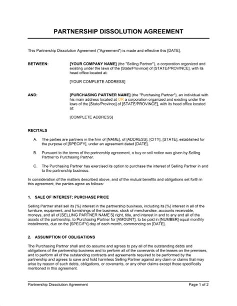partnership agreement template ontario partnership dissolution agreement template sle form