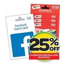 Target Voucher Gift Card Facebook - expired 25 off facebook and red balloon multi packs at woolworths gift cards on sale